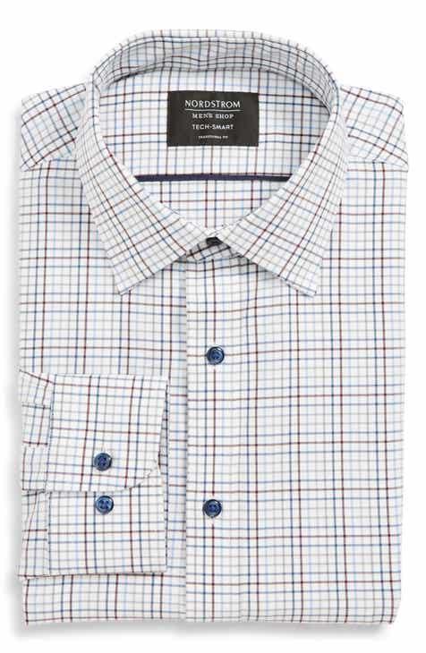 Nordstrom Men's Shop Tech Smart Traditional Fit Check Stretch Dress Shirt