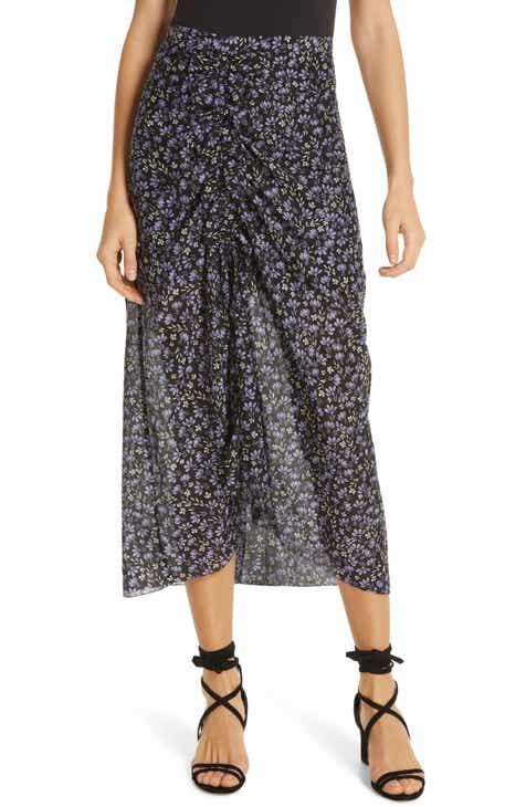 c70188d2f5 Robert Rodriguez Lily Floral Print Ruched Midi Skirt