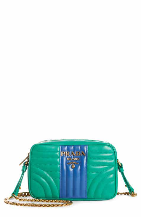 10956de23472 Prada Diagrammed Colorblock Leather Camera Bag