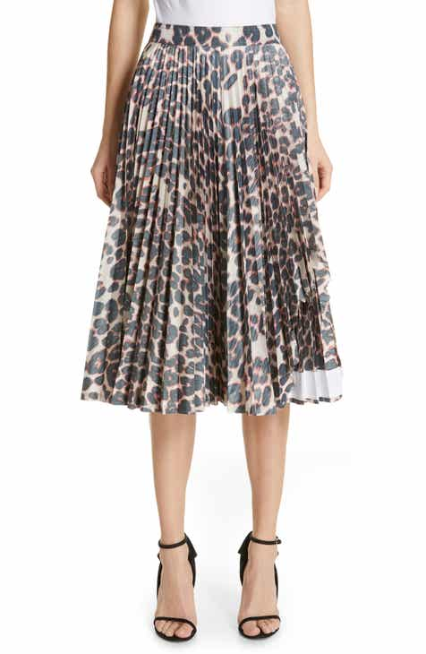 CALVIN KLEIN 205W39NYC Panther Print Pleated Taffeta Skirt by CALVIN KLEIN 205W39NYC