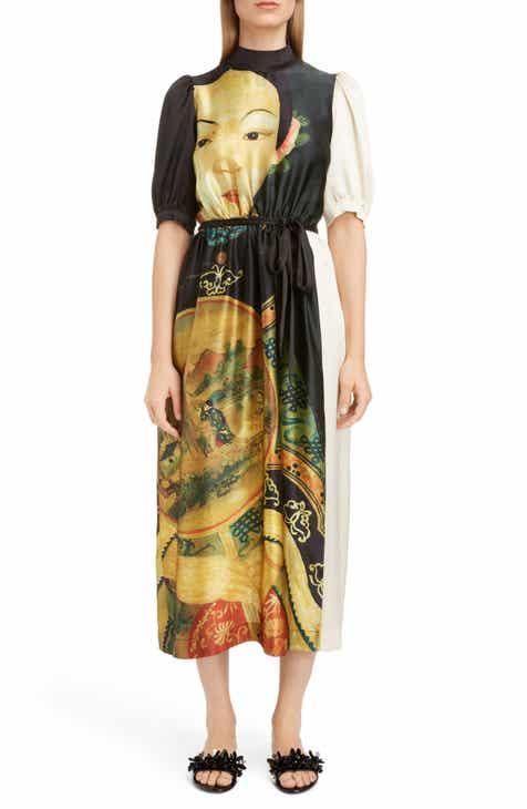 f132392f1f0fe Simone Rocha Lady Print Belted Silk Dress