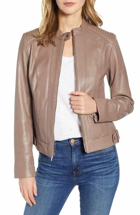dfba10439dbf4 Cole Haan Leather Moto Jacket (Regular   Petite)