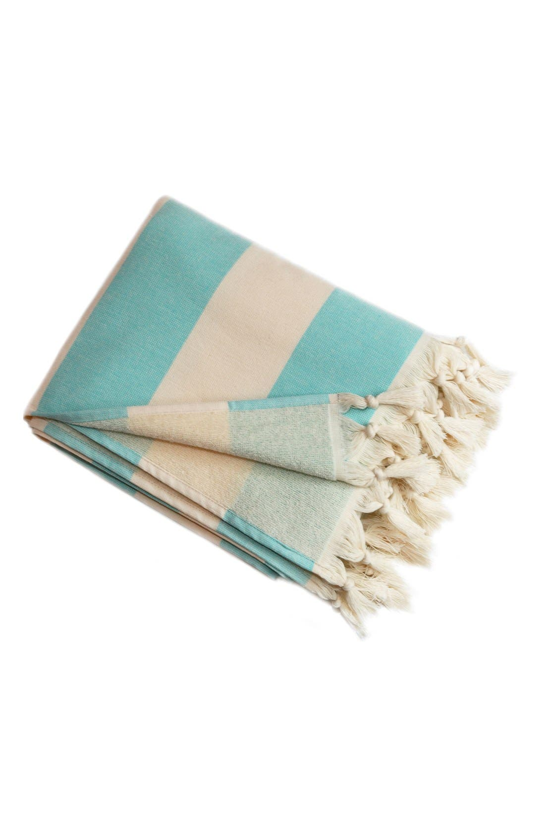 'Patara' Turkish Pestemal Towel,                         Main,                         color, Turquiose