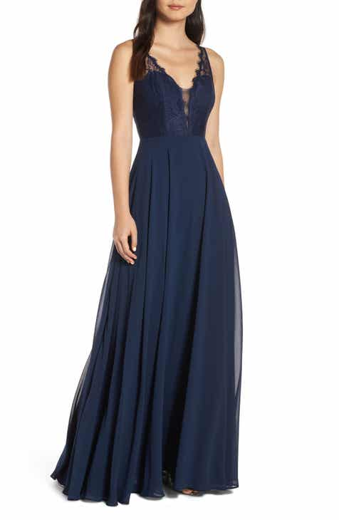 Hayley Paige Occasions Lace Bodice Chiffon Evening Dress