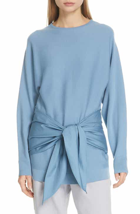 Tibi Mixed Media Tie Waist Top by TIBI