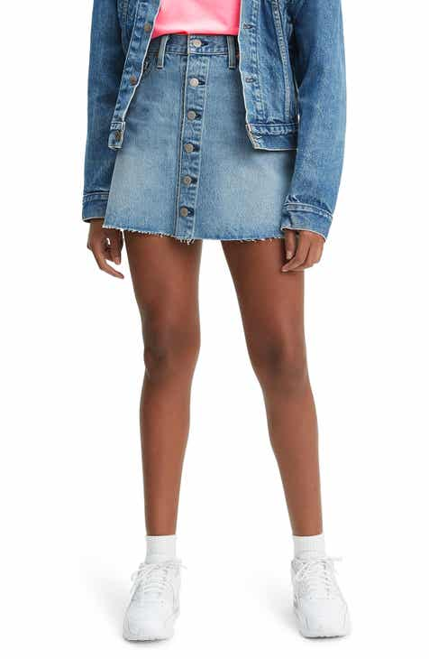 Liverpool Cat Eye Denim Miniskirt by LIVERPOOL
