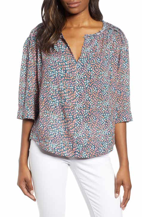 2e1412e16948f8 Caslon® Summer Crepe Popover Top (Regular   Petite)