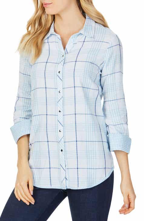 614923db156 Foxcroft Rhea Reversible Dual Pattern Plaid Cotton Shirt