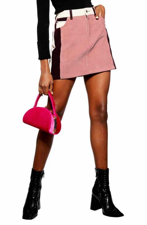 Topshop Colorblock Corduroy Miniskirt by TOPSHOP