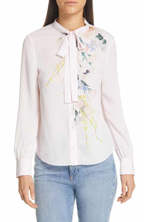 b2051b4a73d171 Ted Baker London Lovii Tie Neck Floral Blouse