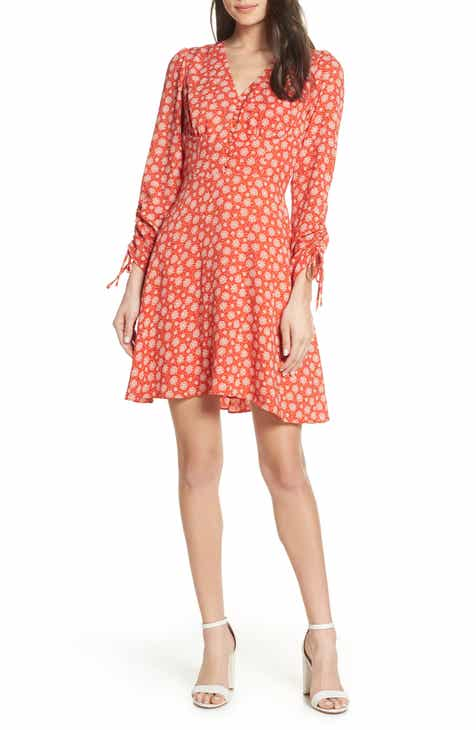 19 Cooper Ruched Sleeve Fit & Flare Dress
