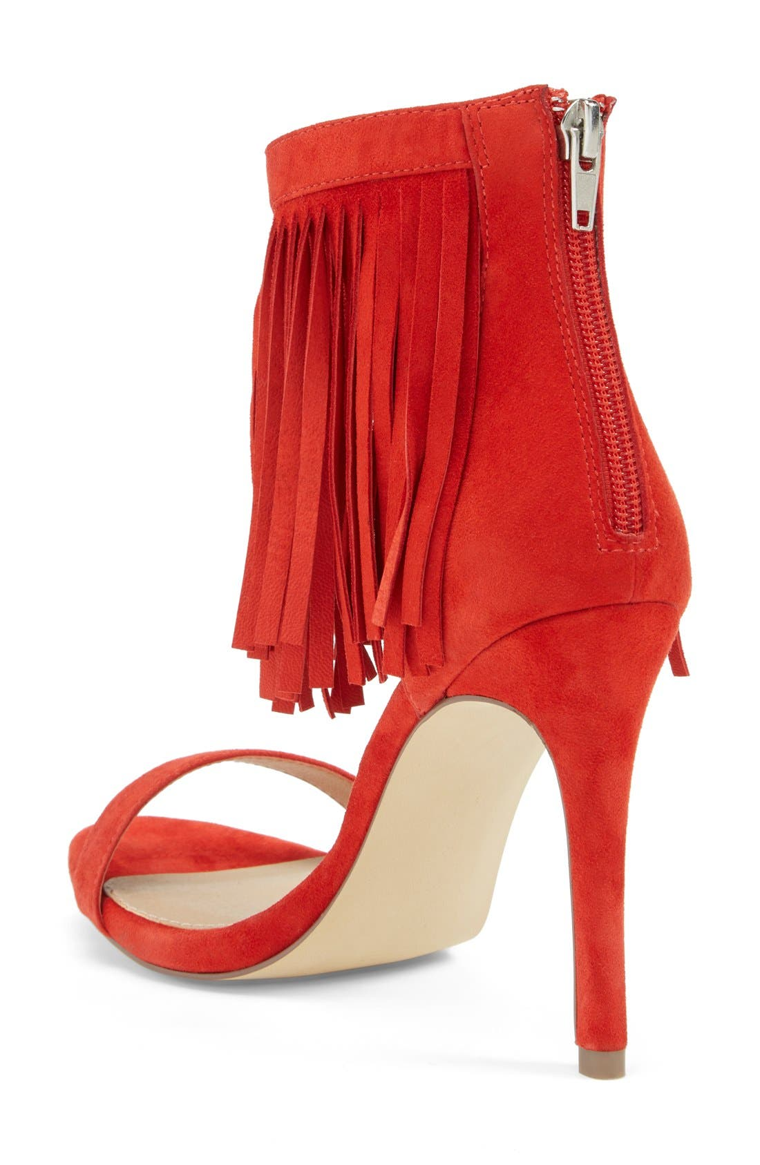 'Staarz' Ankle Fringe Sandal,                             Alternate thumbnail 2, color,                             Coral Suede