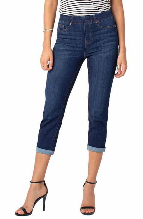 Liverpool Chloe Roll Cuff Capri Denim Leggings (Regular & Petite) by LIVERPOOL