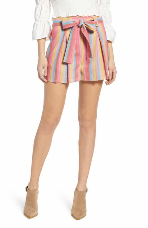 MOON RIVER Stripe Cotton & Linen Shorts by MOON RIVER