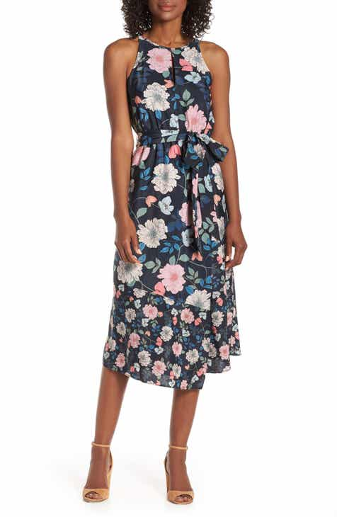 c9a603ec9 Vince Camuto Mixed Floral Print Halter Neck Midi Dress