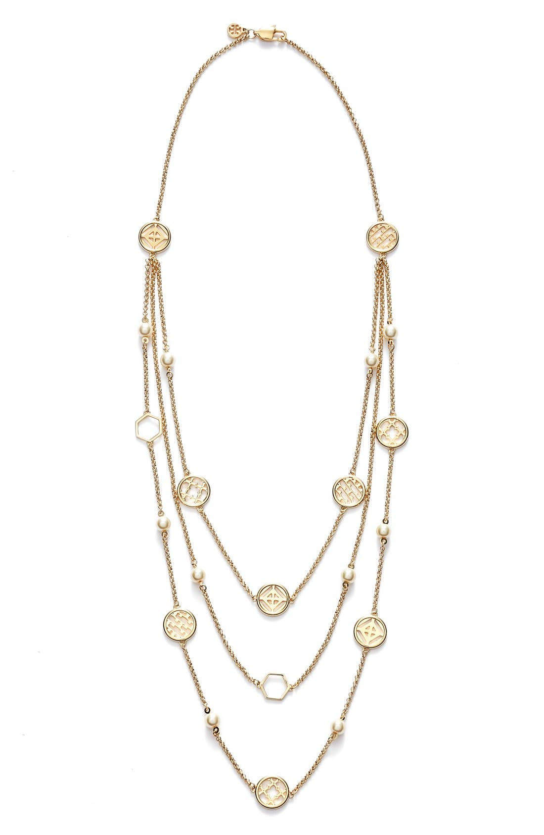 Alternate Image 2  - Tory Burch Faux Pearl Station Necklace