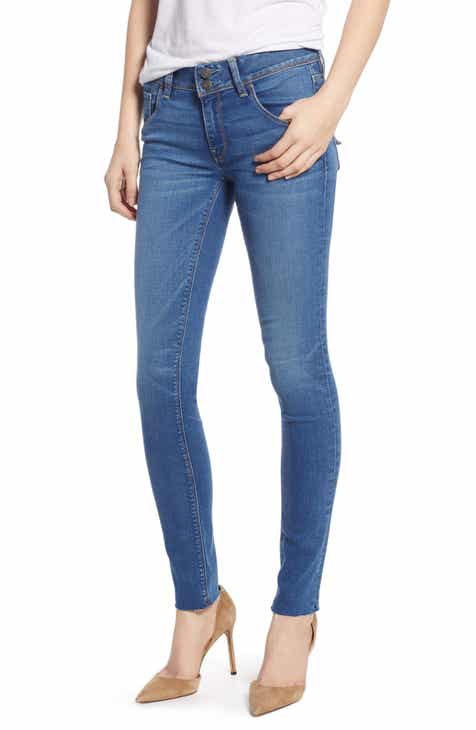Seven7 Embroidered Side Stripe Release Hem Crop Skinny Jeans (Radiant) (Plus Size) by SEVEN7