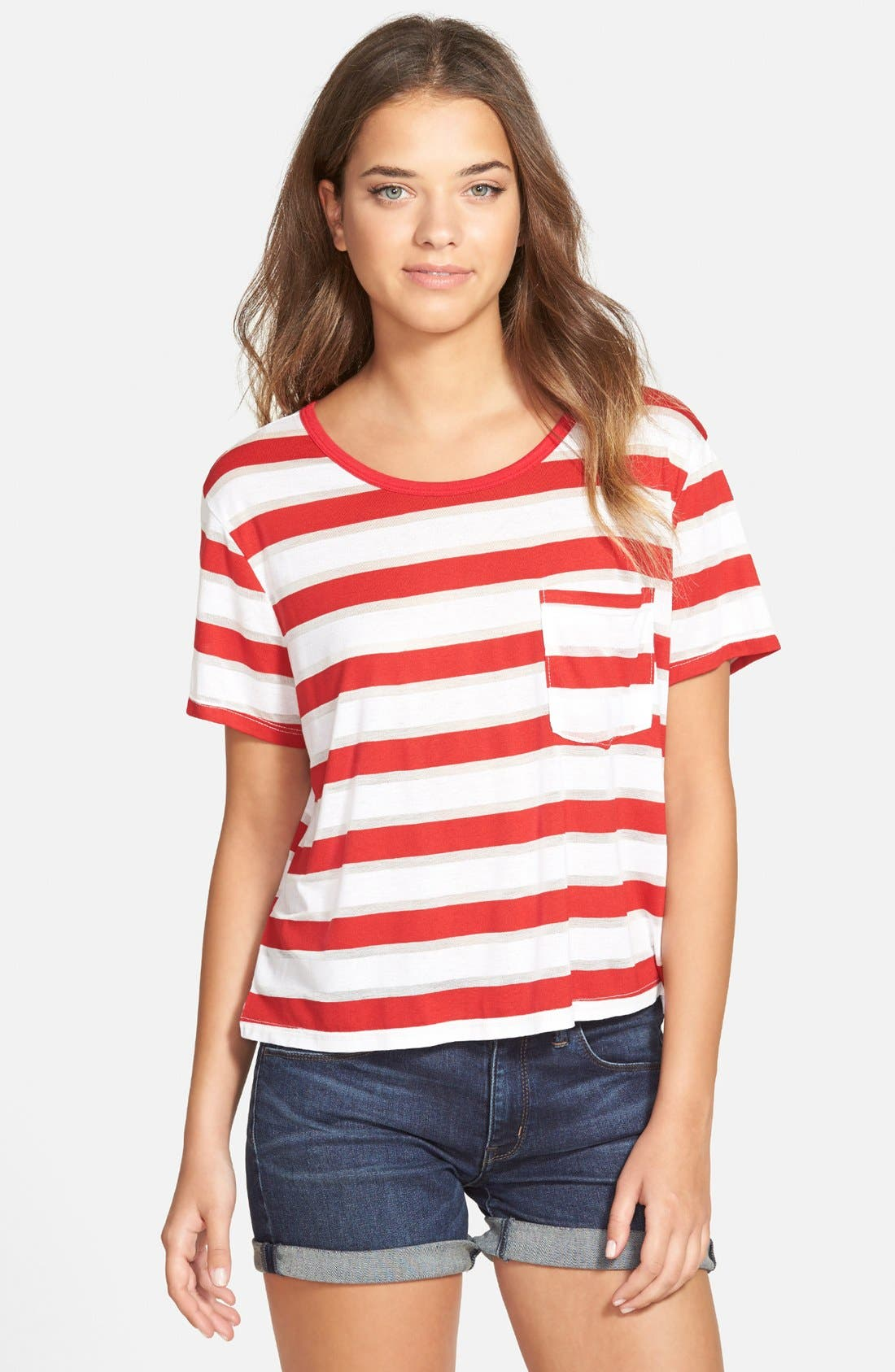 Stripe Short Sleeve Tee,                         Main,                         color, Burnout Stripe Red Samba Combo