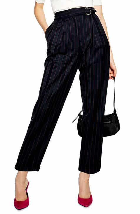 Topshop Pinstripe D-Ring Trousers by TOPSHOP