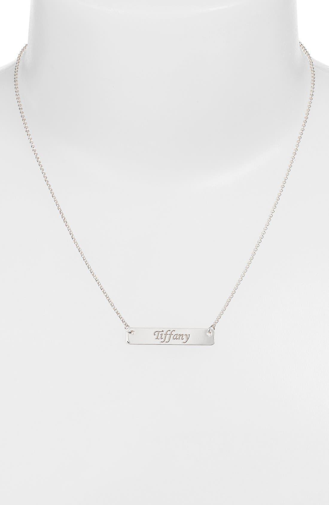Personalized Script Bar Pendant Necklace,                             Alternate thumbnail 2, color,                             Silver