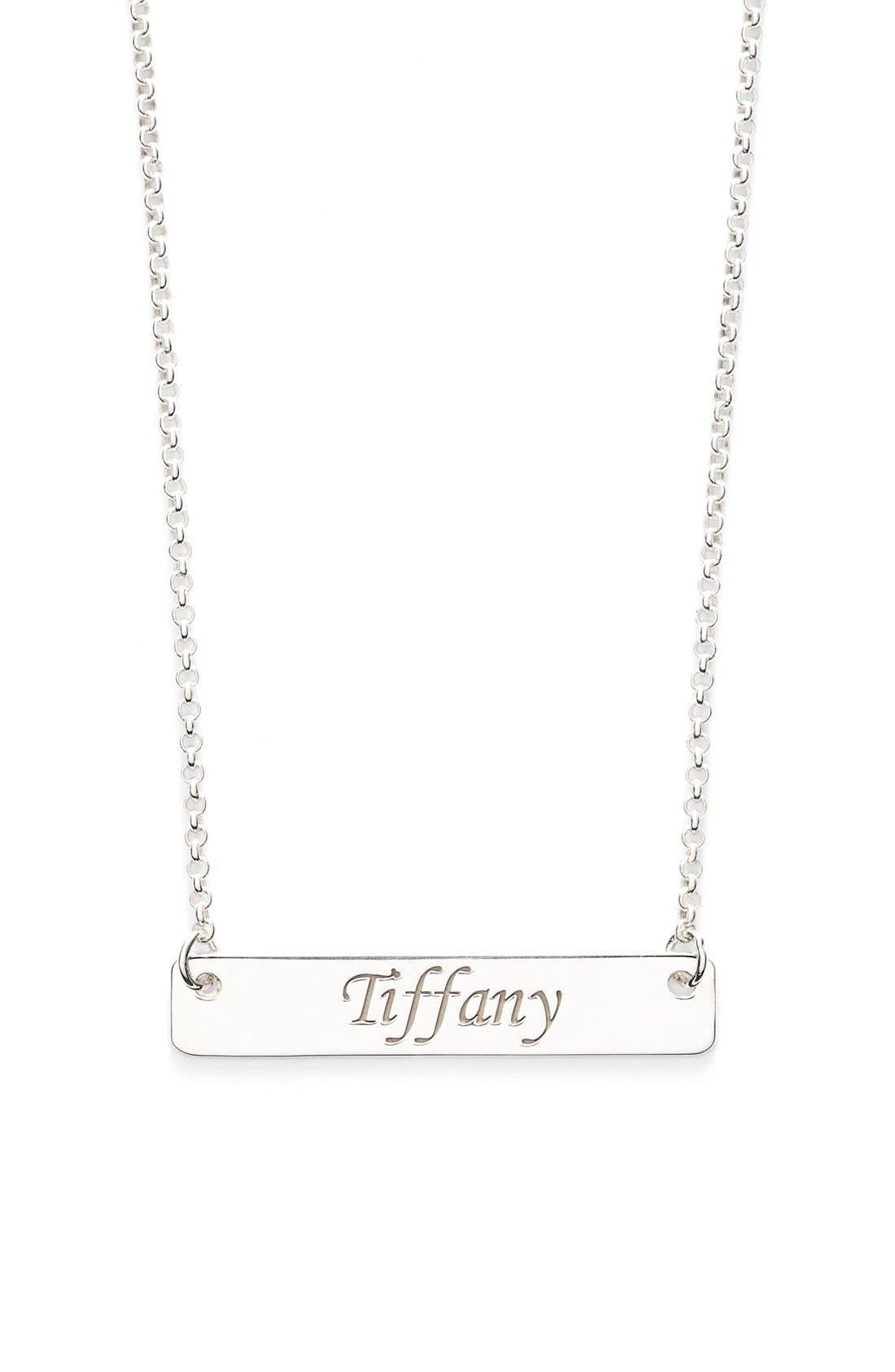 Personalized Script Bar Pendant Necklace,                         Main,                         color, Silver