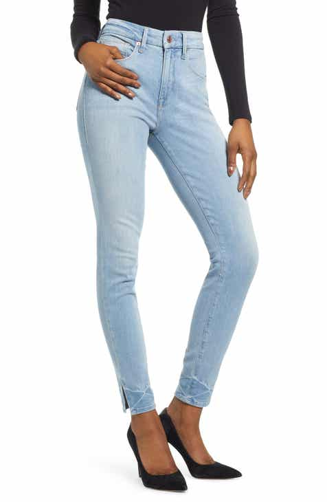 5356146e87951 Good American Good Legs Slit Hem Skinny Jeans (Blue 231) (Regular   Plus  Size)