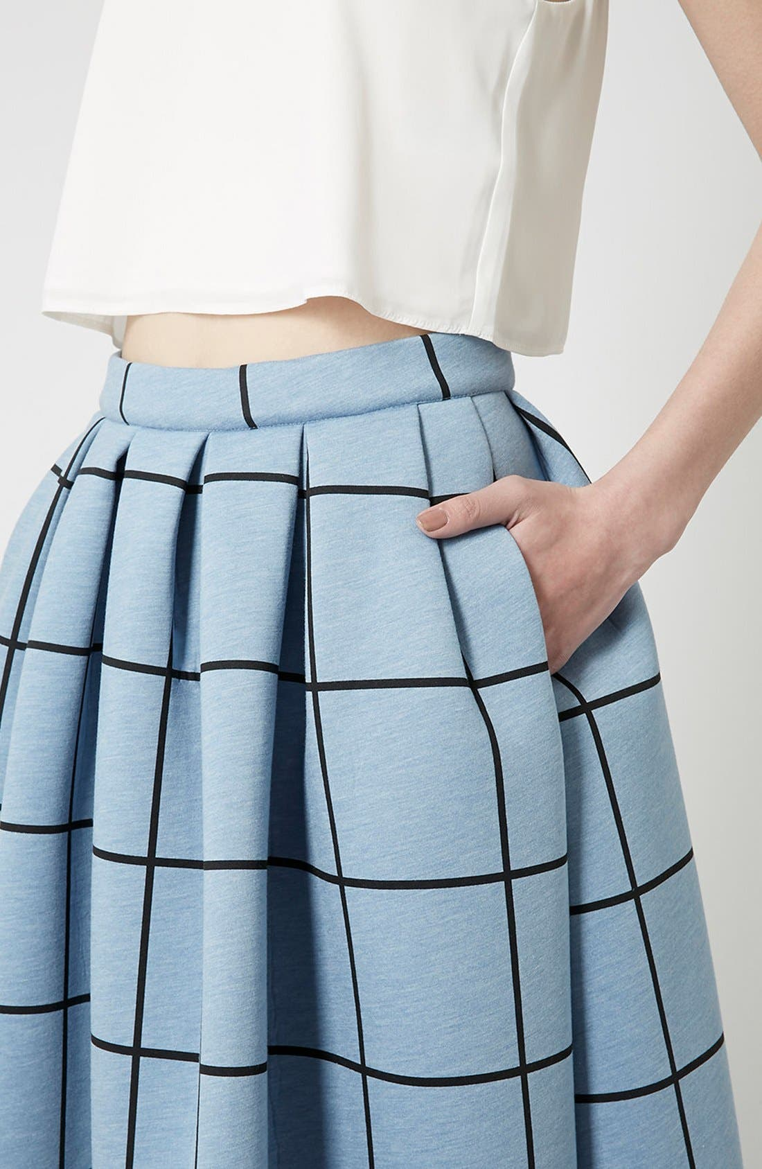 Alternate Image 3  - Topshop Windowpane Midi Skirt