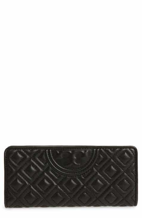 eb2f00df86d4 Tory Burch Slim Fleming Lambskin Leather Wallet.  198.00. Product Image.  BLACK