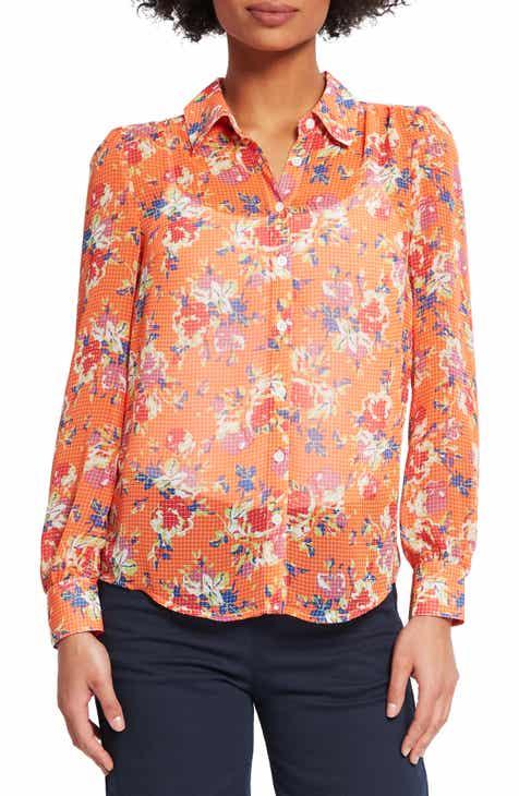 698d14c5244 ModCloth Floral Sheer Chiffon Blouse (Regular   Plus Size)