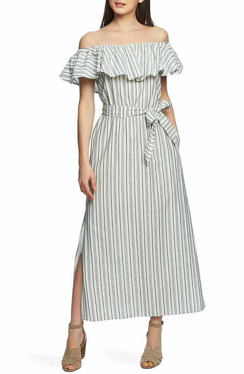 New Design 1.STATE Stripe Off The Shoulder Cotton Maxi Dress Great Reviews