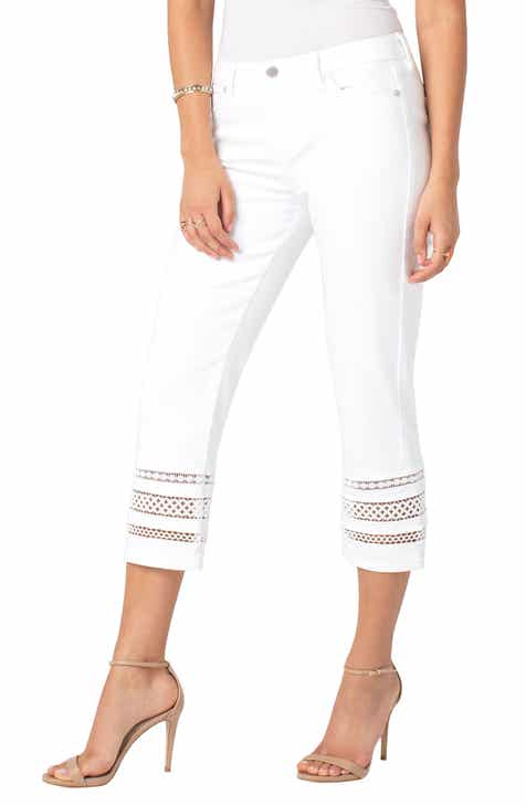 Liverpool Sadie Lace Hem Straight Leg Crop Jeans by LIVERPOOL