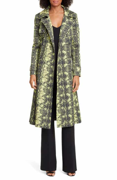 Helene Berman Snake Print Stretch Cotton Trench Coat by HELENE BERMAN