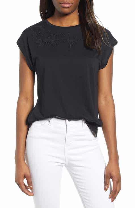 purchase cheap 57868 b2b07 Caslon® Embroidered Cap Sleeve Tee