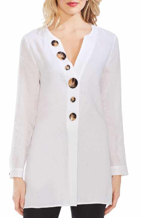 Vince Camuto Button Detail Linen Tunic
