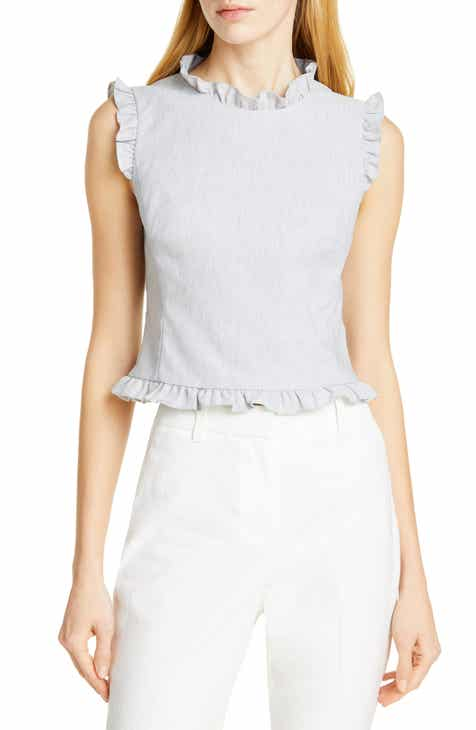 #1 Tailored By Rebecca Taylor Ruffle Detail Sleeveless Linen Blend Blouse Today Sale Only