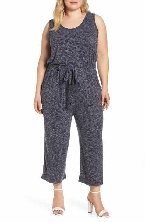 b0e3784a9f5e Bobeau Devin Mélange Ribbed Knit Jumpsuit (Plus Size)