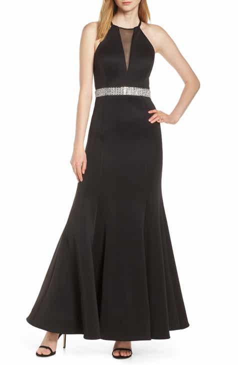 27fc91ff8116 Morgan & Co. Jeweled Waist Scuba Crepe Evening Dress