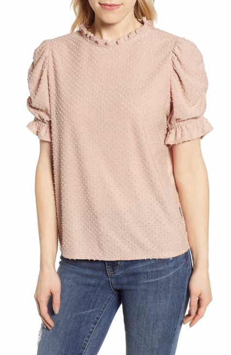4e9aacc238e6e Gibson x International Women s Day Rebecca Clip Dot Ruffle Sleeve Blouse  (Regular   Petite)