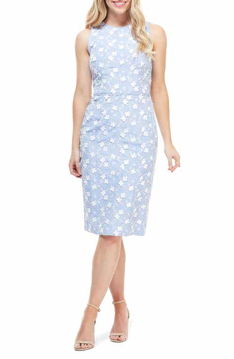 Maggy London Cecelia Floral Appliqué Stripe Sheath Dress by MAGGY LONDON