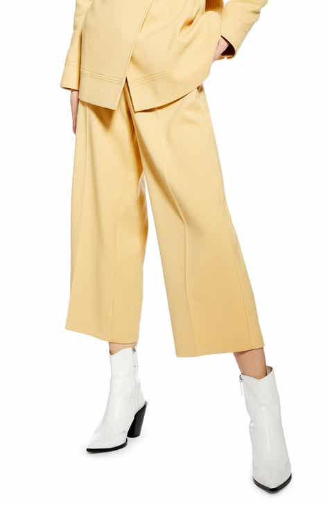 Topshop Bonded Wide Leg Cropped Trousers by TOPSHOP