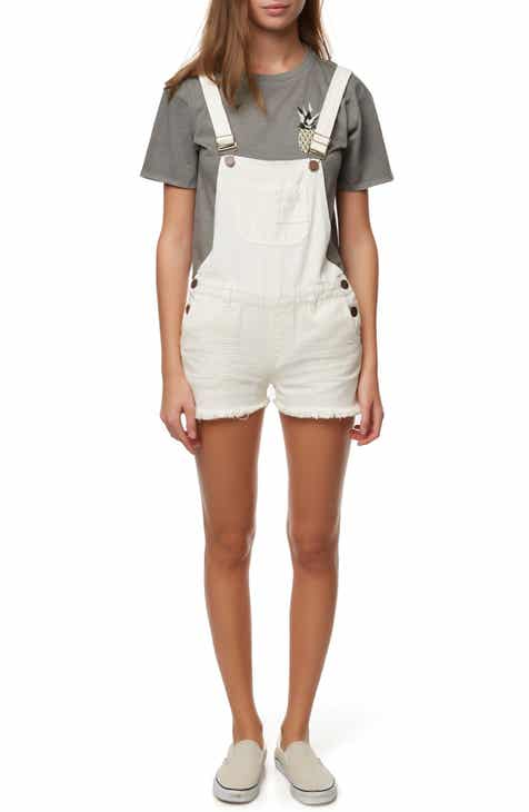 O'Neill Melody Short Denim Overalls (Bone)