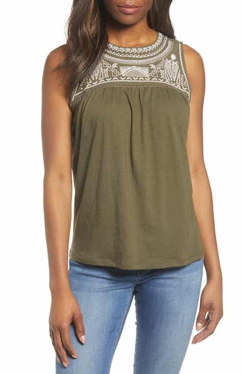 a16c9cc92a2c7f Caslon® Embroidered Yoke Tank (Regular & Plus Size)