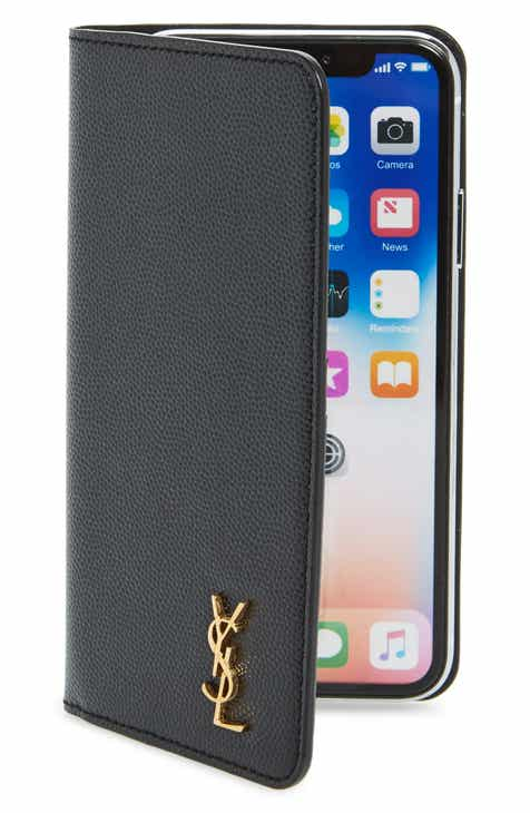 7a5b0291394f Saint Laurent iPhone X Xs Leather Wallet Case