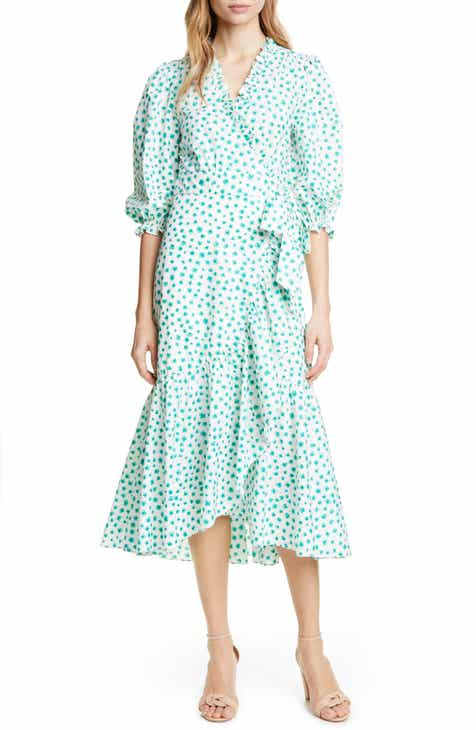 Rebecca Taylor Emerald Daisy Ruffle Detail Cotton Dress