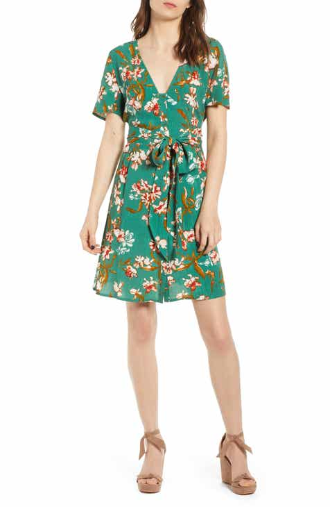 Hinge Floral Front Button Minidress by HINGE