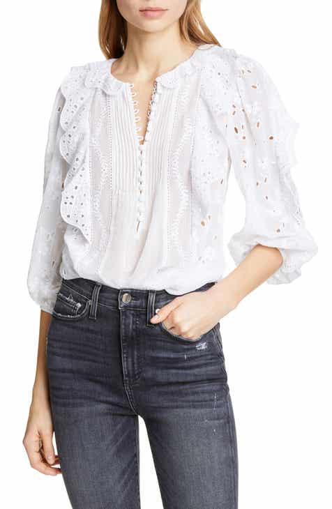 a499aef51783d Rebecca Taylor Livy Ruffle Eyelet Top