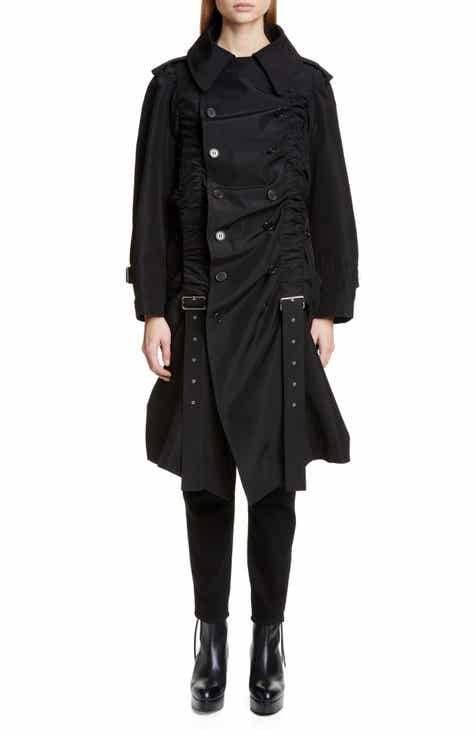 noir kei ninomiya Belt Ruched Double Breasted Cotton & Silk Coat by noir kei ninomiya