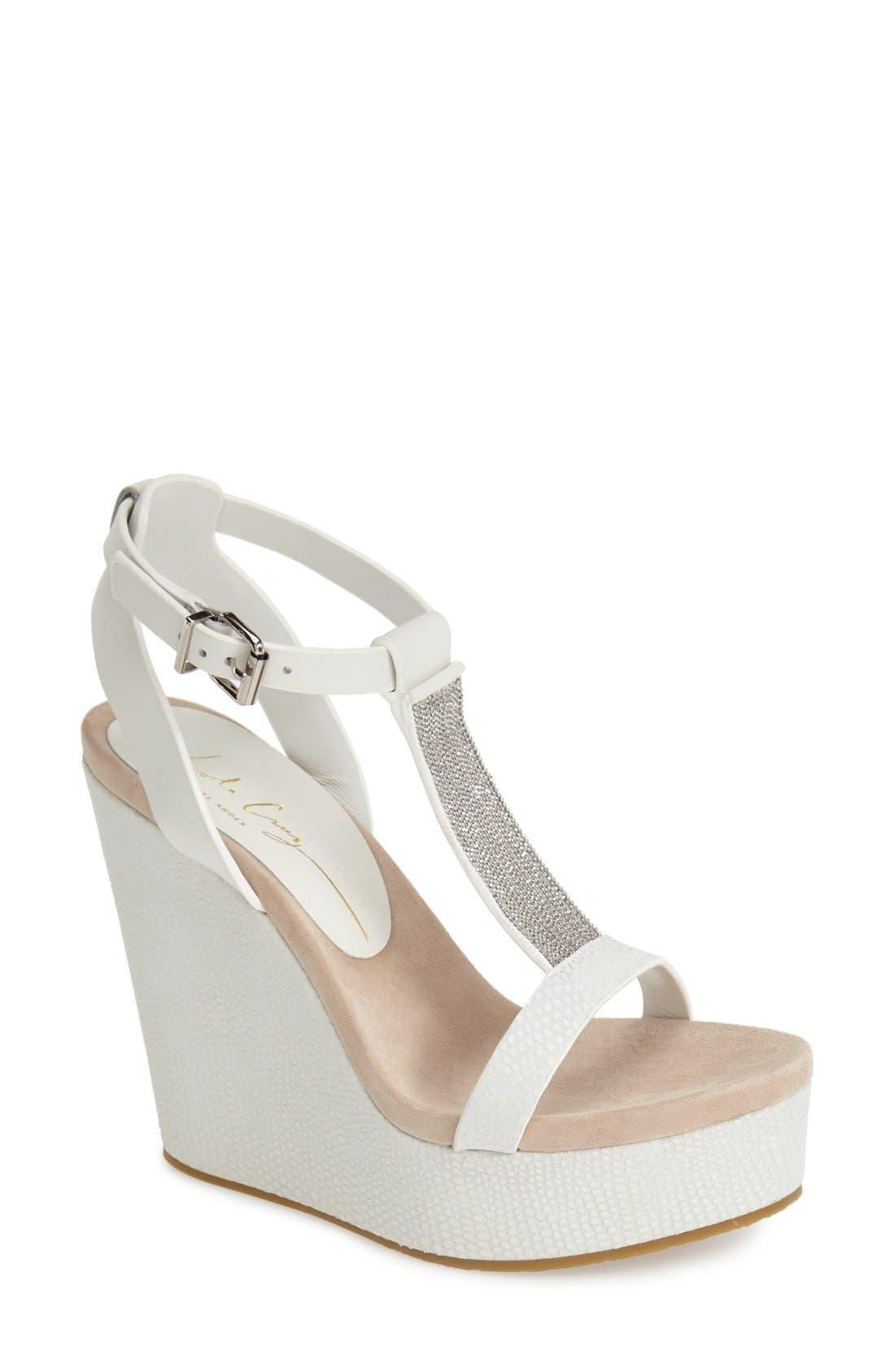 Alternate Image 1 Selected - Lola Cruz Chain T-Strap Wedge Sandal (Women)