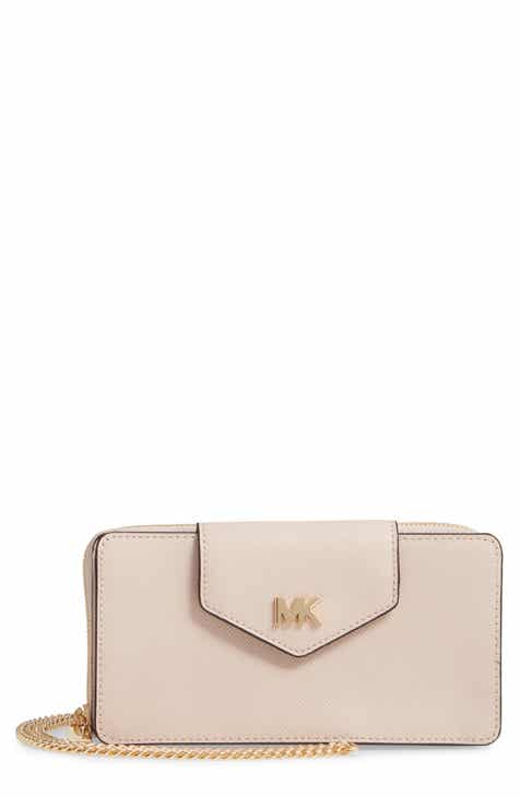 5642ad1aa66b6f MICHAEL Michael Kors Small Convertible Leather Wallet on a Chain