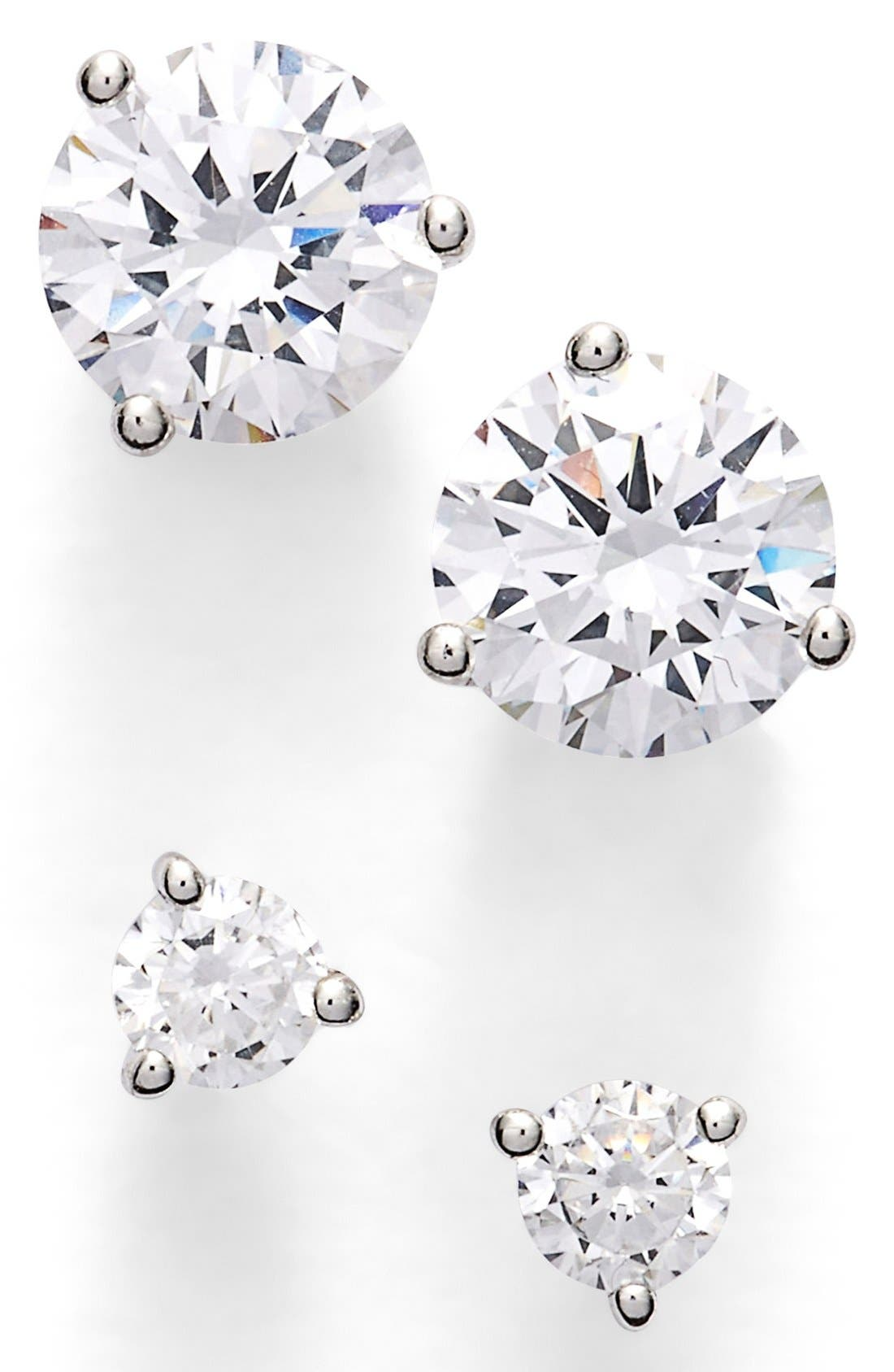 Nordstrom Precious Metal Plated 0.50ct tw and 2ct tw Cubic Zirconia Stud Earrings (Set of 2)